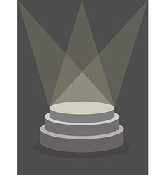 Round Pedestal on a dark background illuminated by vector image