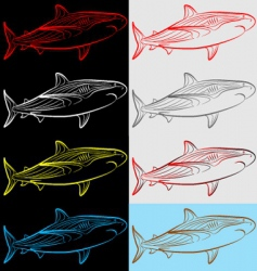 sharks set collection vector image vector image