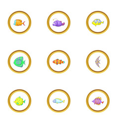 tropical fish icons set cartoon style vector image vector image