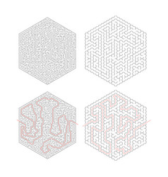 two complicated hexagon-shape labyrinths with red vector image