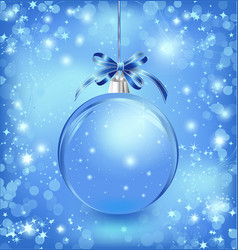 Xmas glass blue ball with snow inside and bow vector image vector image