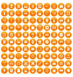 100 bag icons set orange vector image