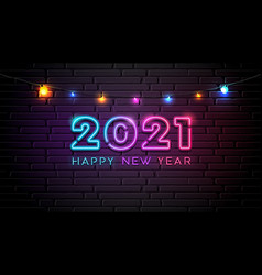 2021 neon light number happy new year colorful vector image