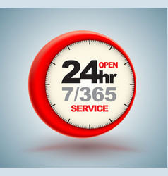 24hr services with clock vector