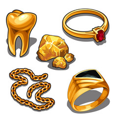 a set of jewelry and dentistry objects made of vector image
