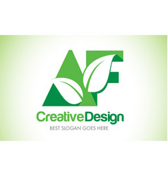 Af green leaf letter design logo eco bio leaf vector
