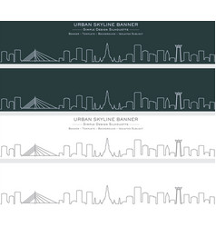 Bangkok single line skyline banner vector