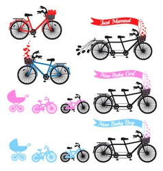 bashower with tandem bicycle set vector image