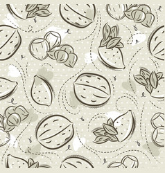 Beige seamless patterns with almond hazelnut and vector