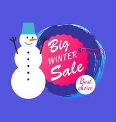 big winter sale and snowman vector image