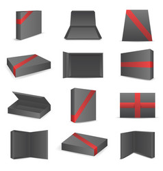black package paper boxes front top isometric open vector image