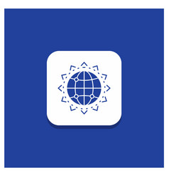 blue round button for world globe seo business vector image