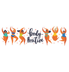 body positive happy girls are dancing attractive vector image