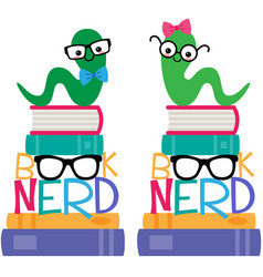 book worm book nerd graphic set vector image