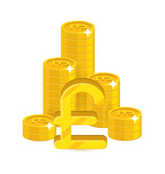 Bunch gold pounds isolated cartoon vector