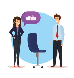 Business couple talking we are hiring vector