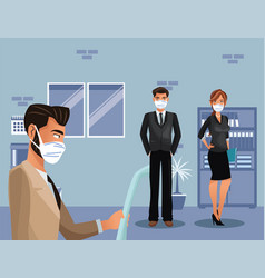 business people working and wearing medical mask vector image