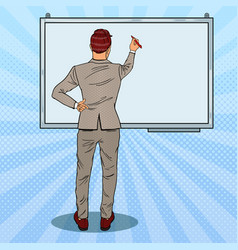 Businessman drawing on the whiteboard pop art vector
