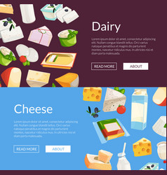 cartoon dairy and cheese products web vector image