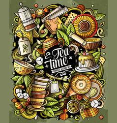cartoon doodles tea time vector image