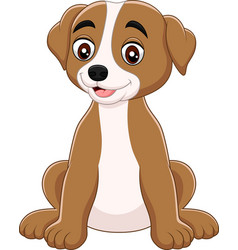 cartoon funny dog sitting isolated vector image