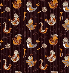 Cartoon jazz orchestra concept wallpaper Birds vector image