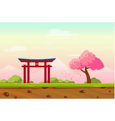 Cartoon spring japan landscape as game background vector