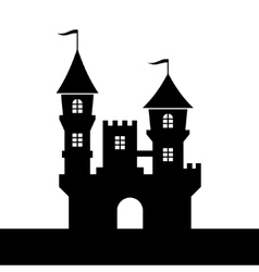 Castle Silhouette Icon on White Background vector