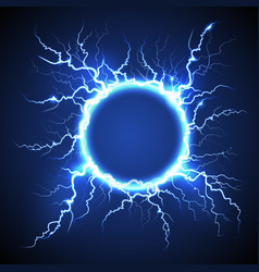 Circle lightning realistic blue background vector