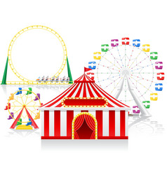 circus tent and attractions vector image