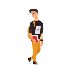 College university student with book and backpack vector