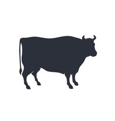 cow silhouette vintage retro print silhouette vector image