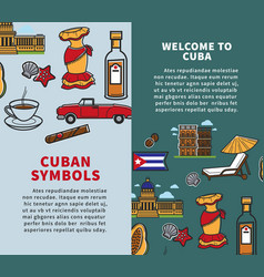 cuba travel posters of country famous symbols or vector image