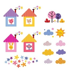 Cute animals in houses kids design elements set vector