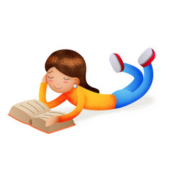 Cute happy girl smiling reading book lying on vector