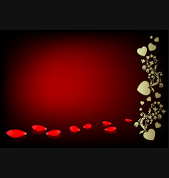 Dark red background with a silhouette of hearts vector
