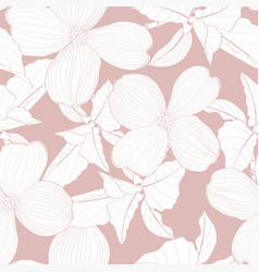 dogwood branch with flowers seamless pattern vector image