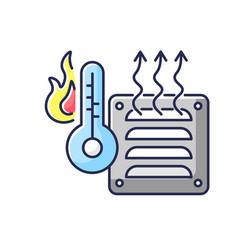 Electric heater rgb color icon vector