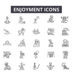 Enjoyment line icons for web and mobile design vector