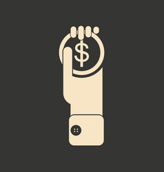 flat black and white coin in hand vector image
