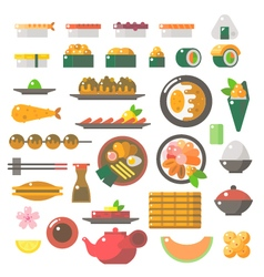 Flat design sushi dishes set vector