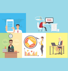 Flat variety of business people at working place vector