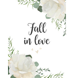 Floral card design with white roses and wucalyptus vector