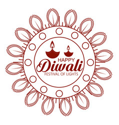 flower and candles hindu emblem to diwali festival vector image