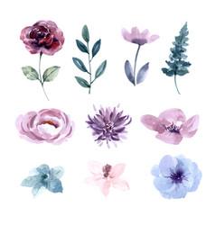Flower wedding watercolor design element on white vector