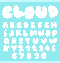 fluffy cloud font collection vector image
