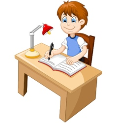 Funny Boy cartoon studying at a desk vector