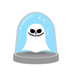 Ghost in trap specter in glass bell laboratory vector