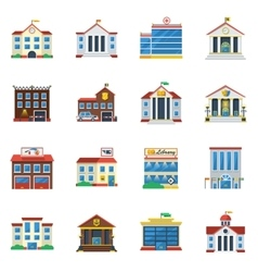 Government Buildings Flat Color Icon Set vector image