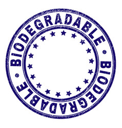 Grunge textured biodegradable round stamp seal vector